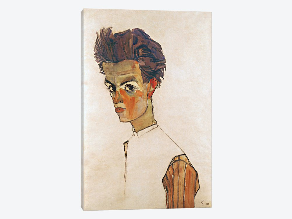 0.75 by 40 by 60-Inch iCanvasART 3-Piece Self-Portrait with Striped Shirt Canvas Print by Egon Schiele