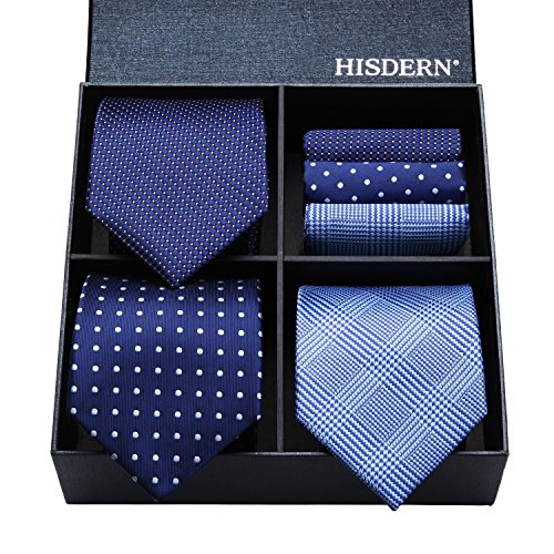 HISDERN Lot 3 PCS Classic Men's Tie Set Necktie & Pocket Square Elegant Neck Ties Collection