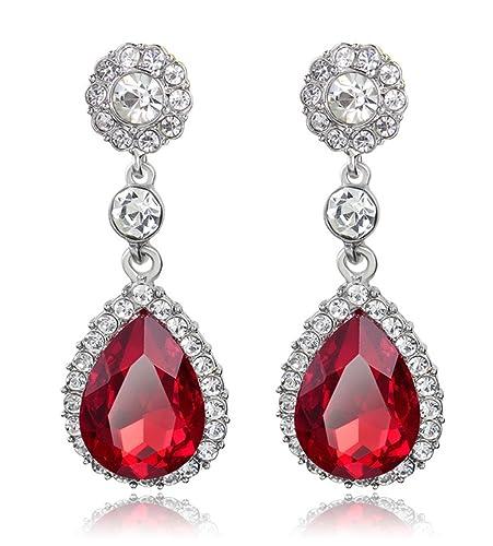 92163343d Amazon.com: YiYi Operation Silver Plated Teardrop Dangle Earrings Cubic  Zirconia Halo Crystal Rhinestone Hypoallergenic Pierced Drop Bridal Earrings:  ...