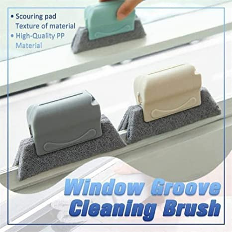 Gray Non-slip Fixed Brush Head Kitchen Door Crevice Track Cleaner Tools Gallity Groove Cleaning Brush Hand-held Window Frame Door Groove Cleaning Brush Quickly Slides Gaps Cleaning 3 PCS
