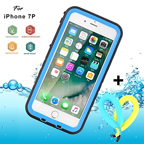 "Floating Waterproof Case for iphone 7 plus with 2 Float Straps and Fisheye lens and Kickstand GUYO Swimming Cover with Touch ID Clear Sound and Touch Screen with IP68 Cover (Blue for i7P- 5.5"")"