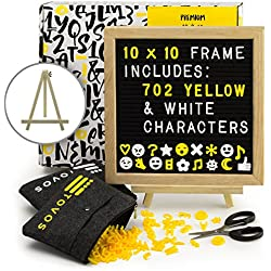 "Felt Letter Board Set: Black Message Board in Solid Oak Frame, 10"" x 10"" with 702 Letters (362 Bright Yellow & 340 White), Adjustable Wood Easel Stand, Precision Scissors & 2 Zippered Storage Pouches"