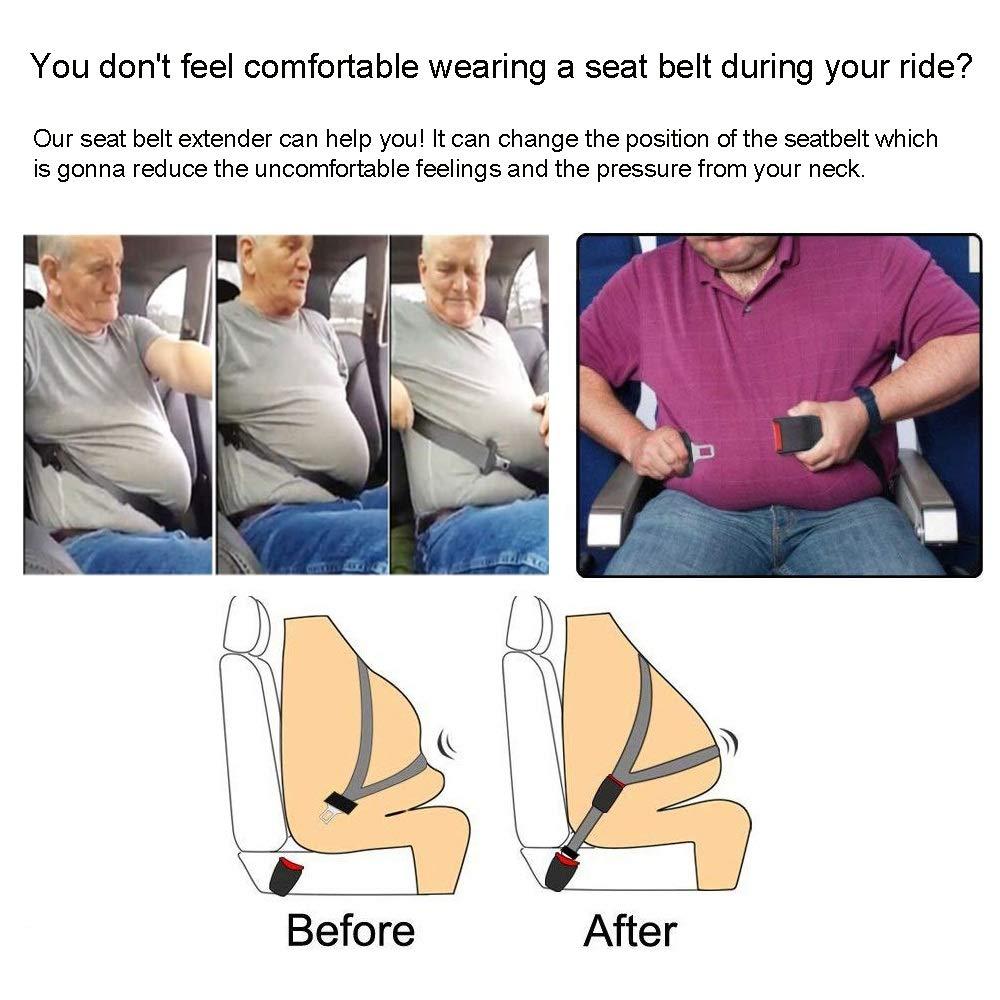 - 8 Retractable Seat Belt Extension 7//8 Metal Tongue 2 Packs Seatbelt Extension E11 Safety Certified Seat Belt Extender