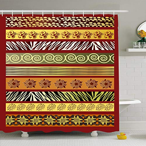 (Ahawoso Shower Curtain 60x72 Inches Green Pattern African Earth Tones Africa Red Tribal Batik Ethnic Zebra Abstract Waterproof Polyester Fabric Bathroom Curtains Set with Hooks )