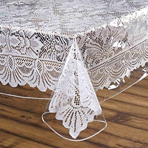 BalsaCircle 70-Inch Clear Square Plastic Vinyl Tablecloth Protector Table Cover Linens Wedding Party Events Decorations Dining