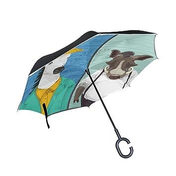 BENNIGIRY Paraguas Reversible Plegable de Doble Capa con Ilustración de Animales, Protección UV Resistente al