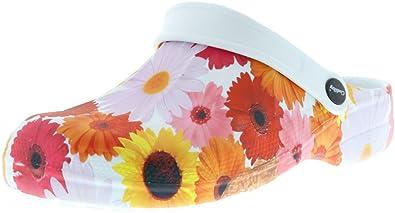 ConWay Damen Clogs Pantoletten Blumen Mehrfarbig, Größe:37, Farbe:Mehrfarbig