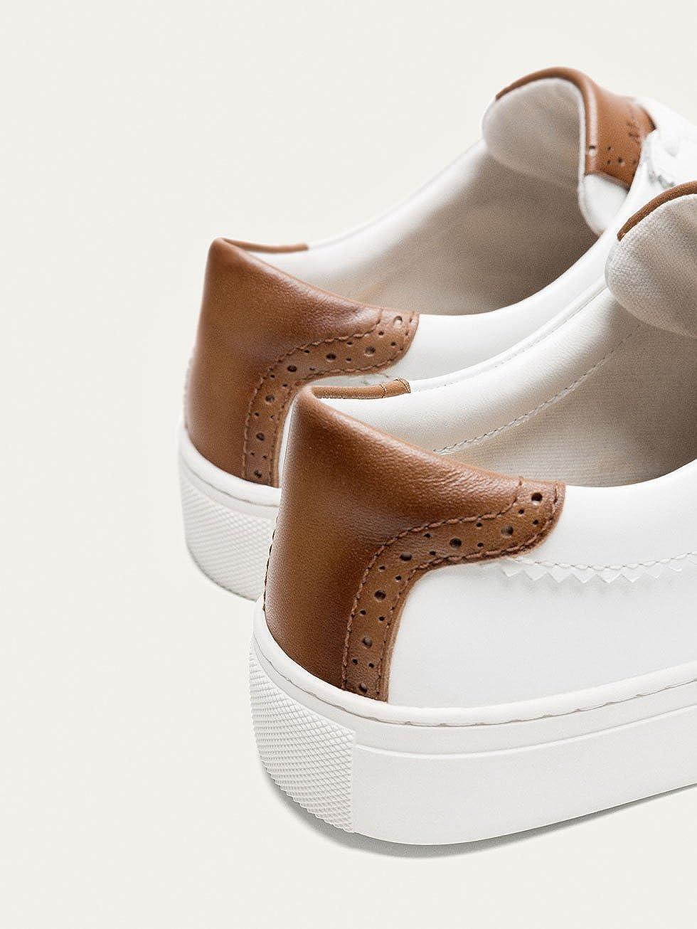 0091a979bdf4ef Massimo Dutti Damen Weißer Ledersneaker 39 EU (39