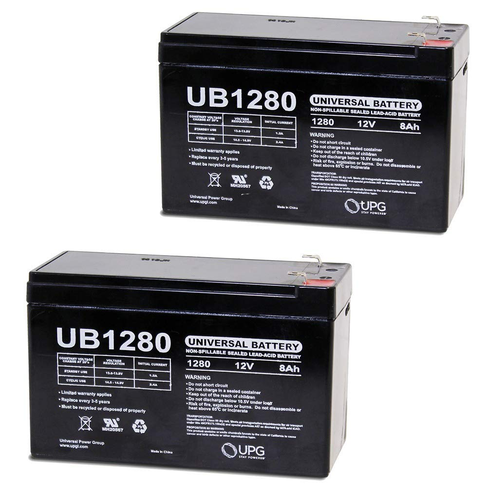 12V 8AH SLA Battery replaces WKA12-8F2 DJW12-8HD TPH12080 F2 - 2 Pack UPG