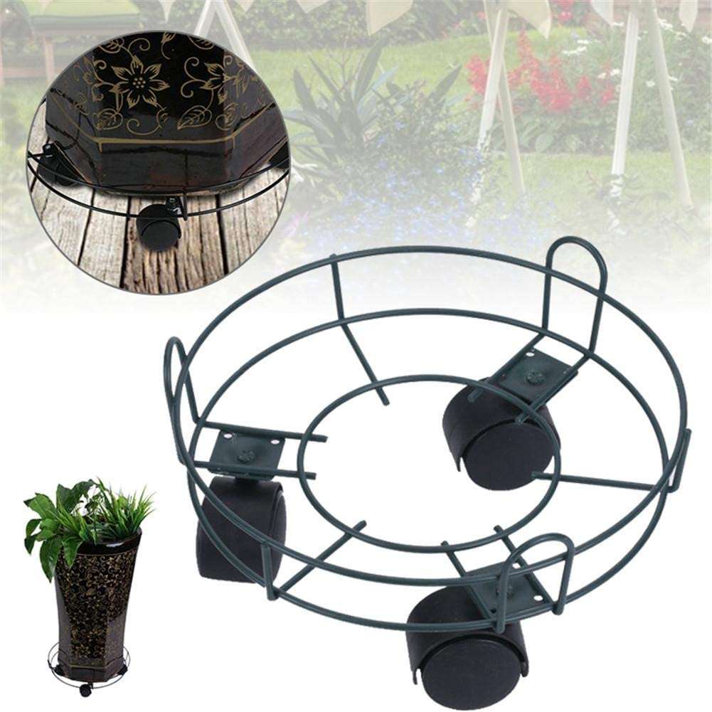 wangza Potted Plant Stand on Wheels Metal Flower Pot Rack Indoor Outdoor Heavy Duty Iron Potted Plant Stand Round Dolly Holder on Wheels Planter Trolley Casters