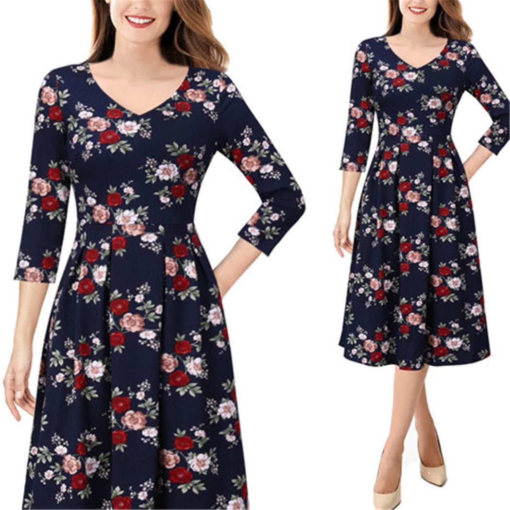 Dark bluee Red Pink Zhaoguan Womens Elegant Vintage Pockets Floral Print Work Business Office Casual Party ALine Dress