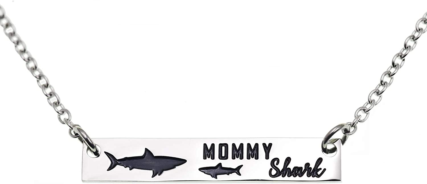 Melix Home Mommy Shark Mama Baby Shark Jewelry Necklace Shark Necklace for Women Stainless Steel 20 Inches Length