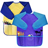 Bassion Pack of 2 Kids Art Smocks, Children Waterproof Artist Painting Aprons Long Sleeve with 3 Pockets for Age 2-6…