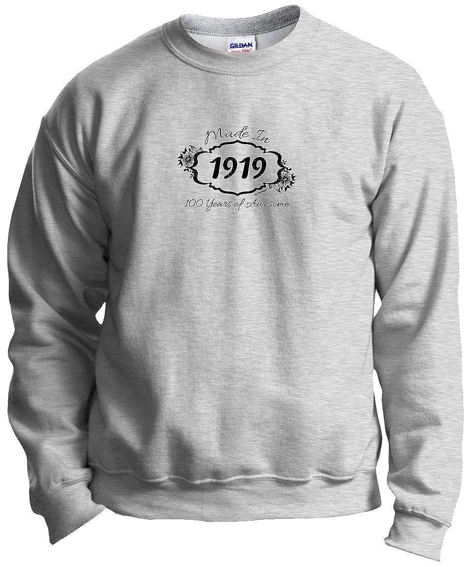 b9dee209c134 Amazon.com  ThisWear 100th Birthday Gift Made 1919 100 Years Awesome  Crewneck Sweatshirt  Clothing