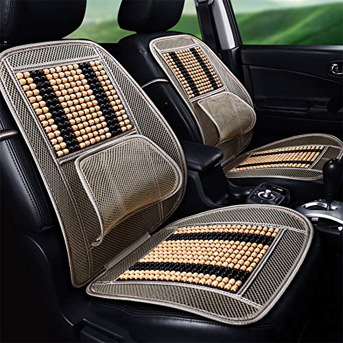 DIELIAN Wooden Beaded Car Seat Cushion and Lumbar Cushion, Keeps The Back from Getting Sweaty While Driving-1 pcs,Beige