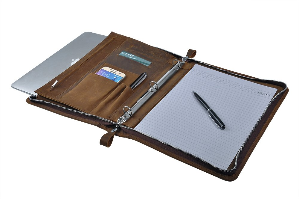 Rustic Leather Padfolio with 3-Ring Binder for Letter A4 Paper, 11-inch MacBook Air, Tan