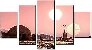 Star Wars Tatooine Poster Room Decor Wall Art Wall Art Living Room Poster Home Decor 5 Panel Canvas Print Wall Art (8x14x2,8x18inx2,8x22inx1)