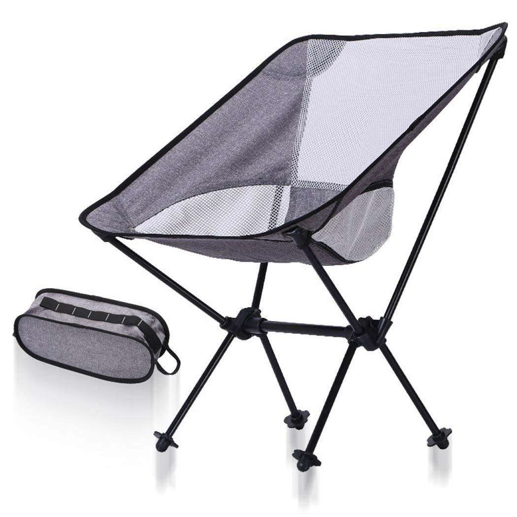 Folding Chair Light Portable Outdoor Fishing Chair Aluminum Beach Chair Barbecue Folding Stool (Color : Black, Size : 535967cm)
