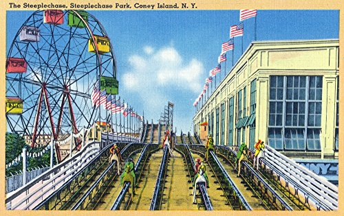 (Coney Island, New York - Steeplechase Park View of the Ride (24x36 SIGNED Print Master Giclee Print w/Certificate of Authenticity - Wall Decor Travel Poster))