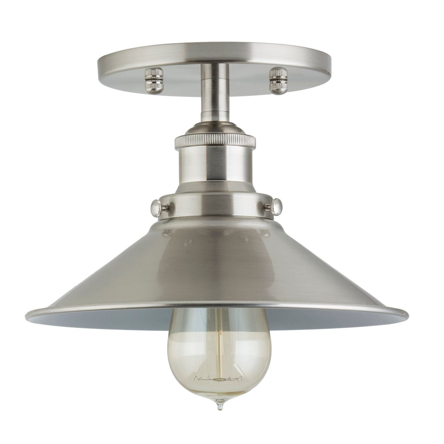 Andante industrial vintage ceiling light fixture brushed nickel semi flush mount ceiling light ll c407 bn amazon com