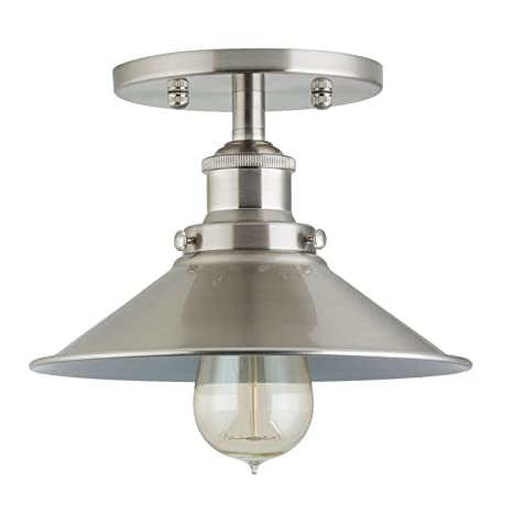 sports shoes db936 abb2f Andante Industrial Vintage Ceiling Light Fixture | Brushed Nickel Semi  Flush Mount Ceiling Light LL-C407-BN