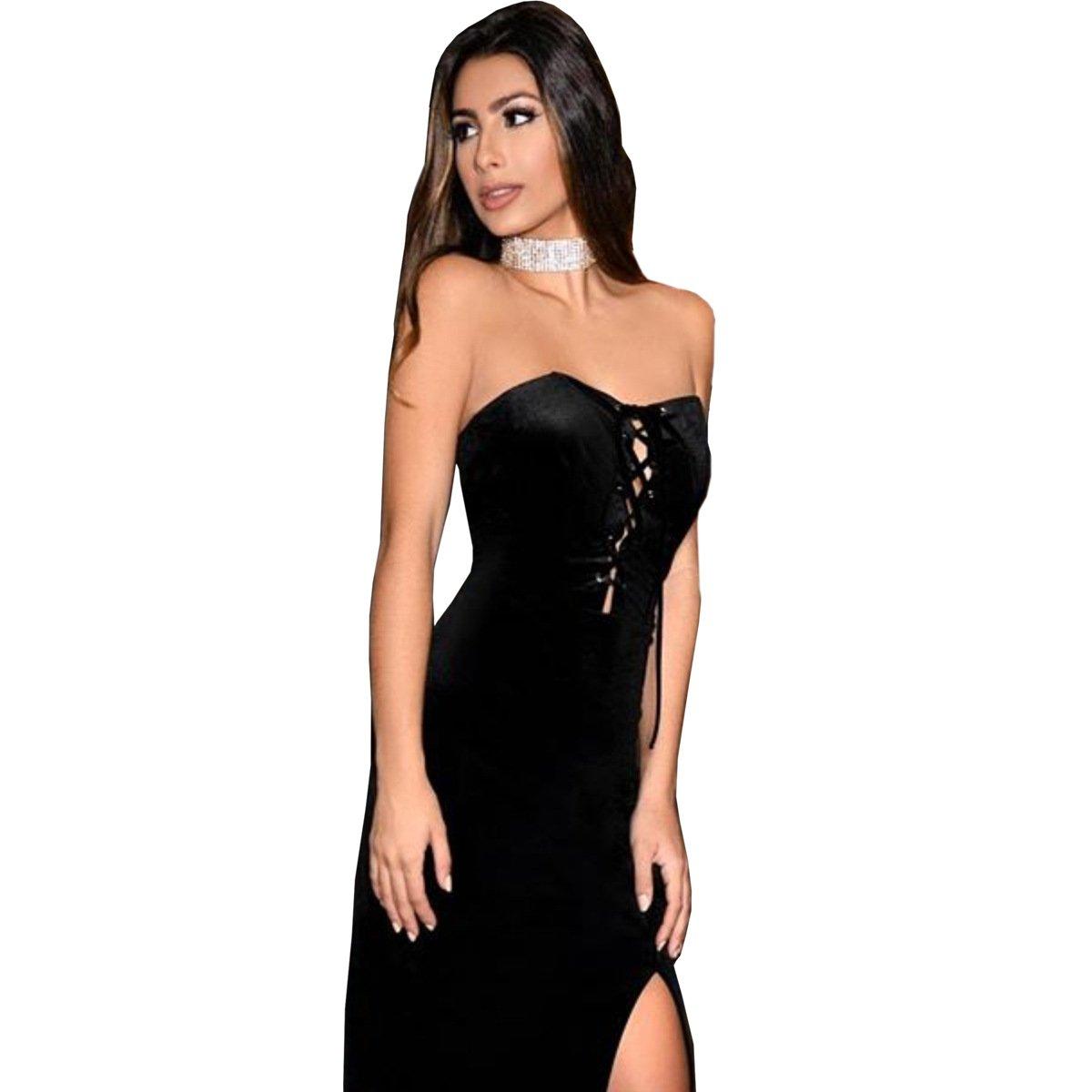Da donna in velluto nero con lacci corsetto senza spalline MIDI Dress Club Wear party cocktail abbigliamento taglia XL UK 14EU 42