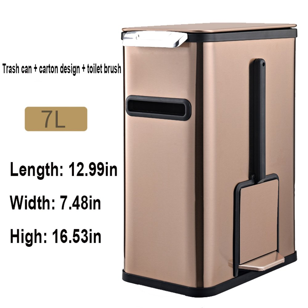 Goquik Multi-Function Household Stainless Steel Trash Can 7L Bathroom Covered Bathroom Toilet Trash Trash Can (Color : Large Golden) by Goquik