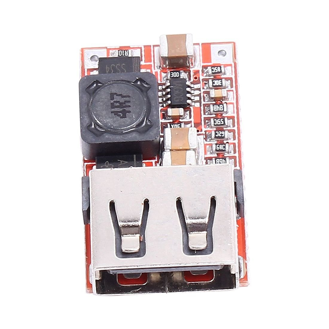 SODIAL(R) 6-24V 12V/24V to 5V 3A Car USB Charger Module DC Buck step down Converter DIY Red