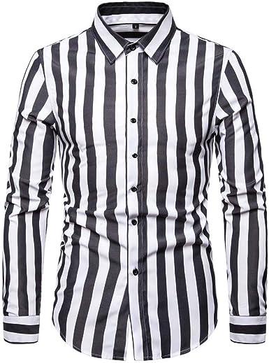 Los Hombres Camisa De Vestir De Cuello Alto A Rayas De Manga Larga Delgada del Ajuste De Ocio De Rayas Botón De Camisa Impresos para La Fiesta: Amazon.es: Ropa y accesorios