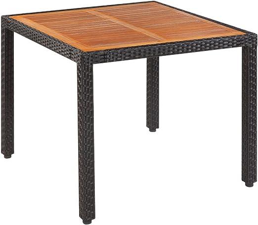 Tuduo Table pour extérieur polyrotin Plan Bois d\'acacia 90 x ...