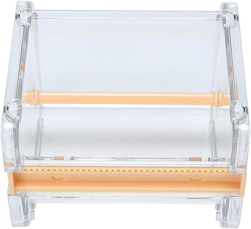 Piokio Desktop Tape Dispenser with Cutter, Roll Tape Organizer/Holder, Tape Storage Box (Orange)