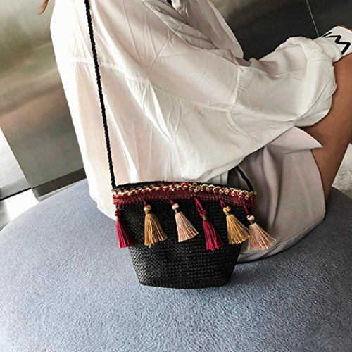 Straw Messenger Black Beach Women's Shoulder Summer Crochet Tassel Corssbody with Bags Shybuy Bag Purse Aw6aSWq