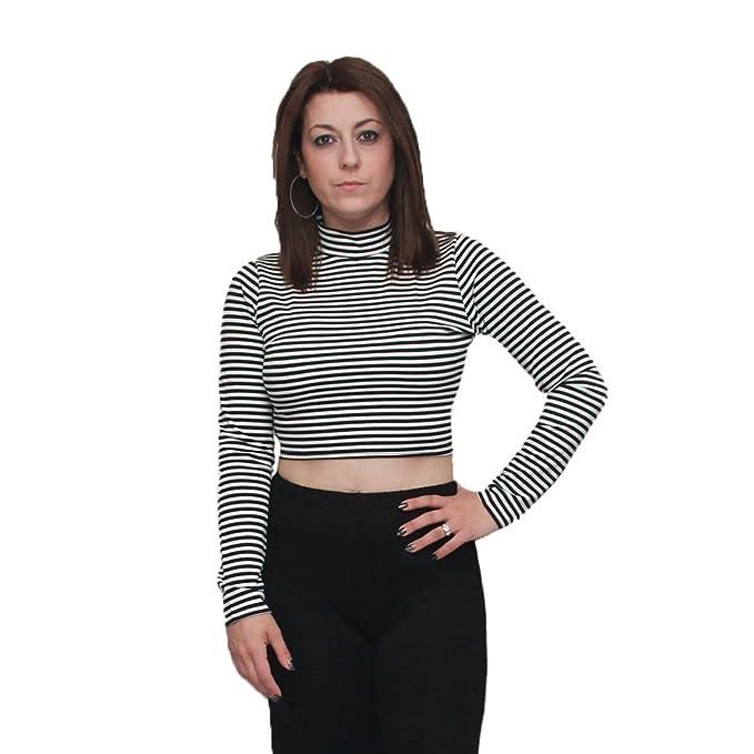 SendIt4Me Black/White Striped Crop Top with Long Sleeves