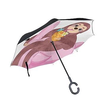 Sombrilla de doble capa invertida con flamenco para bebidas, paraguas invertido, impermeable, resistente