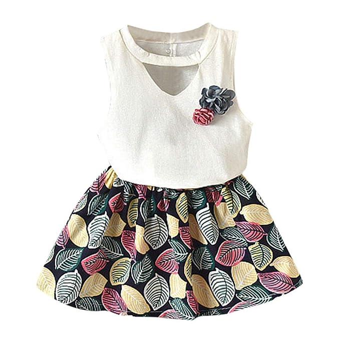 4275306da Luckycat Conjunto de Falda de Chaleco para niñas, Vestido Plisado ...