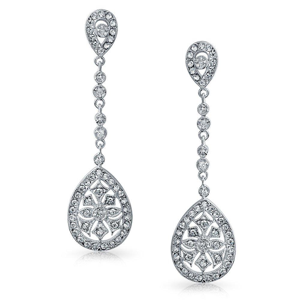 Com Cz Teardrop Bridal Chandelier Earrings Rhodium Plated Brass Dangle Jewelry