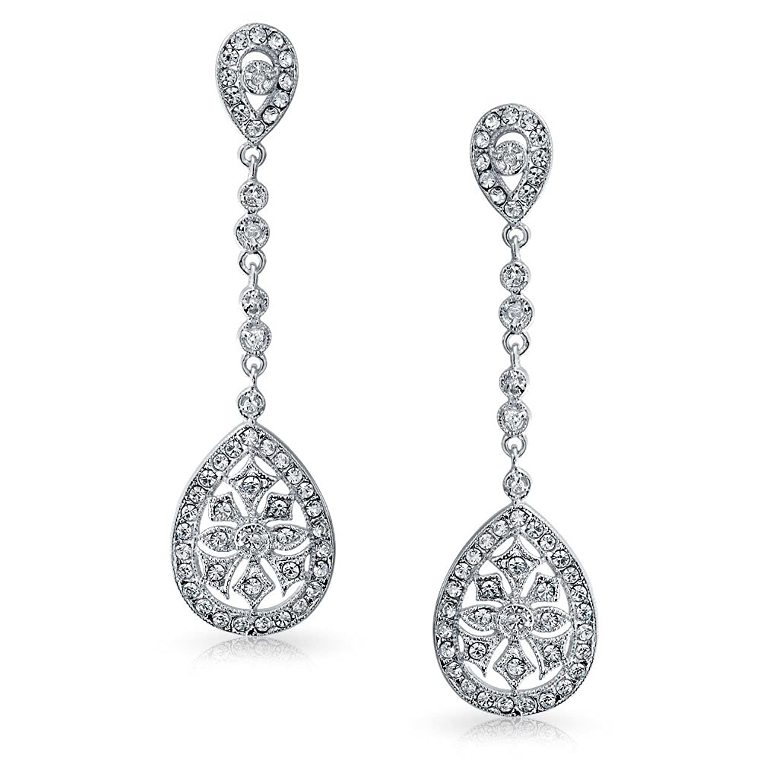 Amazon bling jewelry cz teardrop bridal chandelier earrings amazon bling jewelry cz teardrop bridal chandelier earrings rhodium plated brass dangle earrings jewelry arubaitofo Images