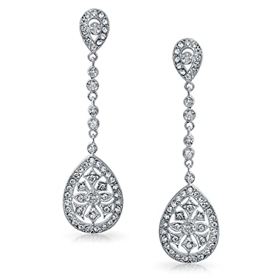 97bf1a250 Image Unavailable. Image not available for. Color: Deco Style Bridal  Teardrop Cubic Zirconia Filigree Statement Prom Pageant Chandelier Earrings  Women ...