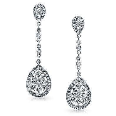Amazon cz teardrop bridal chandelier earrings rhodium plated cz teardrop bridal chandelier earrings rhodium plated brass aloadofball Images