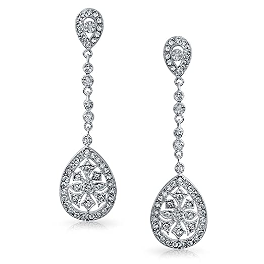 Amazon.com: Bling Jewelry CZ Teardrop Bridal Chandelier Earrings ...