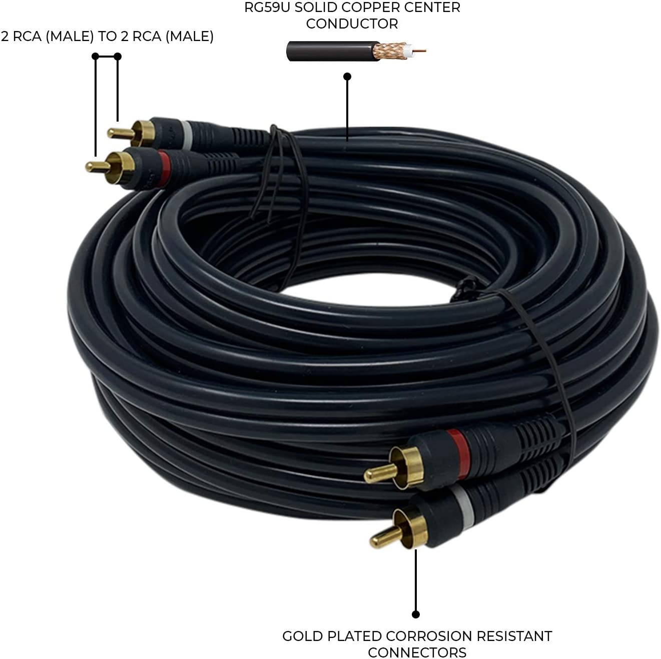 25 Feet 3 RCA iMBAPrice  2RCA Male to 2RCA Male Home Theater Audio Cable 3 RCA