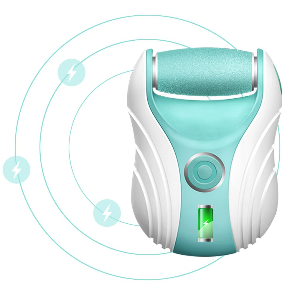 Electric Callus Remover Tool Foot File Pedicure Callus Shaver, Rechargeable with 2 Rollers Micro Pedi Foot Sander Heel Smoother Buffer (Green)