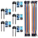 For Arduino Raspberry pi, kuman 5PCS Soil Moisture Sensor Module and 5 PCS Temperature Humidity Sensor with 20PIN Female to Female DuPont Jump Cable 20PIN Male to Female jump Wires KY71