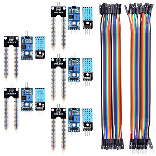 Kuman for Arduino Raspberry pi, 5PCS Soil Moisture Sensor Module and 5 PCS Temperature Humidity Sensor with 20PIN Female to Female Dupont Jump Cable 20PIN Male to Female Jump Wires KY71