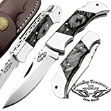 Cheap Best.Buy.Damascus1 Beautiful Black Wood 5.5″ Custom Handmade Double Bloster Stainless Steel Folding Pocket Knife Back Lock 100% Prime Quality Come With Real Leather Sheath