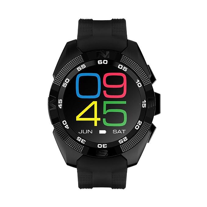 UKCOCO G5 Bluetooth Smart Watch LED de visualización de la luz con monitor de ritmo cardíaco para Android e iOS Watchphone (Negro)