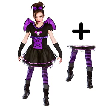 Batty V&ire Ballerina + Tights Girls Fancy Dress Kids Halloween Childs Costume (Medium Ages 5  sc 1 st  Amazon UK & Batty Vampire Ballerina + Tights Girls Fancy Dress Kids Halloween ...