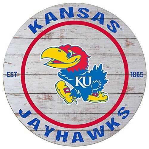 """KH Sports Fan 20""""x20"""" Kansas Jayhawks Classic Weathered Circle Wall Sign"""