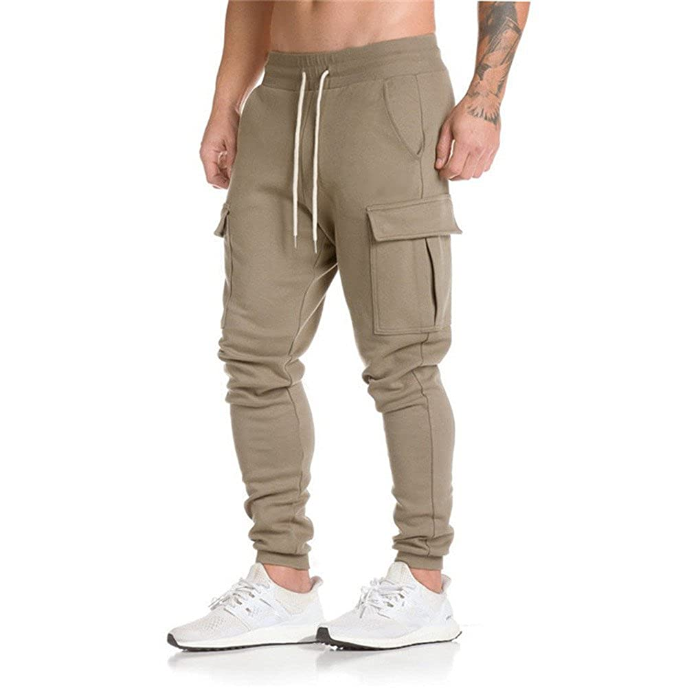 WOCACHI Mens Jogger Pants Sweatpants Dungarees Elastic Casual Pockets Trousers WOCACHI-181029
