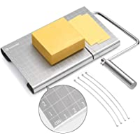 zanmini Cheese Slicer, Stainless Steel Cheese Cutter with Accurate Size Scale, Wire Cheese Slicer for Cheese Butter, Equipped with 4 Replaceable Cheese Slicer Wires